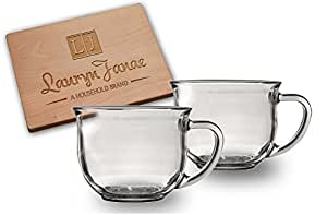 Lauryn Janae Clear Premium 18oz Large Wide-Mouth Coffee, Tea, Soup & Cereal Glass Cup Mug (Set of 2)