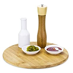 Kitchen TB Home 14″ Bamboo Lazy Susan Kitchen Turntable for Pantry Cabinet or Table lazy susans