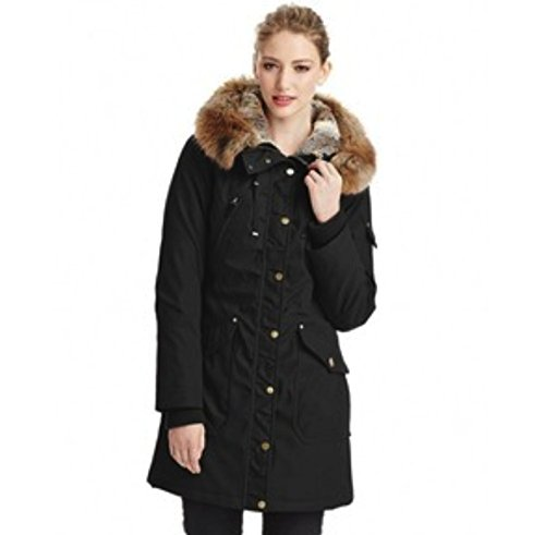 1 Madison Expedition Ladies' Anorak Jacket Faux Fur Hood (Black, 1X)