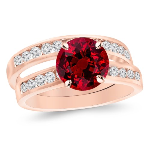 (14K Rose Gold Classic Channel Set Wedding Set Bridal Band & Diamond Engagement Ring with a 0.5 Carat Ruby Heirloom Quality)