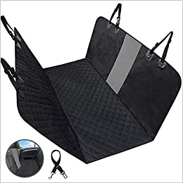 FRUITEAM Dog Car Seat Cover Hammock, Pet Backseat Predector Waterproof Nonslip with Mesh Visual Window, Heavy-Duty for All Standard Cars SUV Trucks (Black (no Flaps))