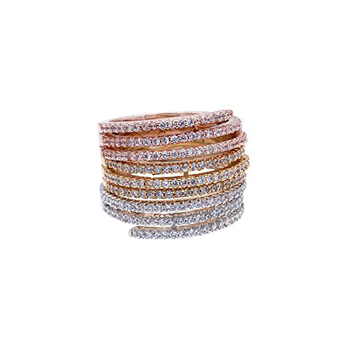 Tri Setting Ring - Lavencious Tri Tone Stackable Ring CZ Mirco Paved Cocktail Wedding Party Jewelry Women Gold Plated (Three Tone, 8)