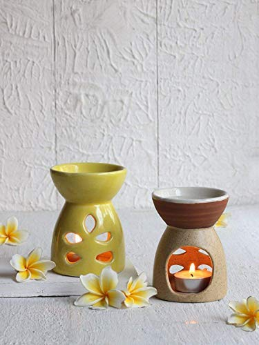 storeindya Decorations Gifts Tea Light Candle Holder Set of 2 Handmade Oil Burner Diffuser Home Decor Accessories Housewarming (Yellow & Brown) (Iron Fancy Fireplace)