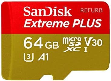 SanDisk Extreme Plus 64GB microSDXC UHS-I U3 V30 A1 Card SDSQXBG-064G-GN6MA (Renewed)