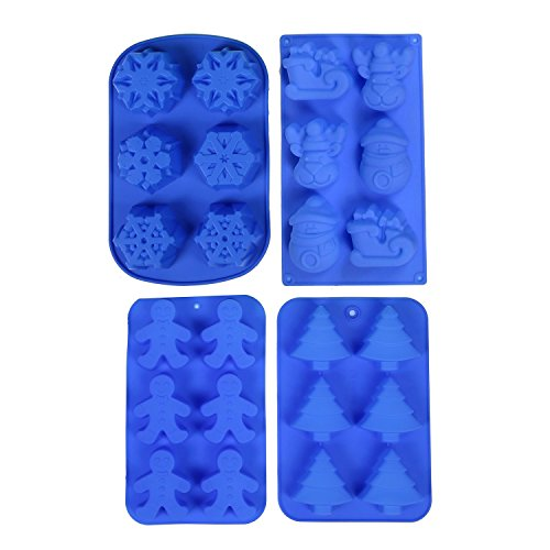 IHOMECOOKER 4PC Silicone Christmas Baking Mold Set Christmas Tree Snowflakes Snowman Cake Mold -