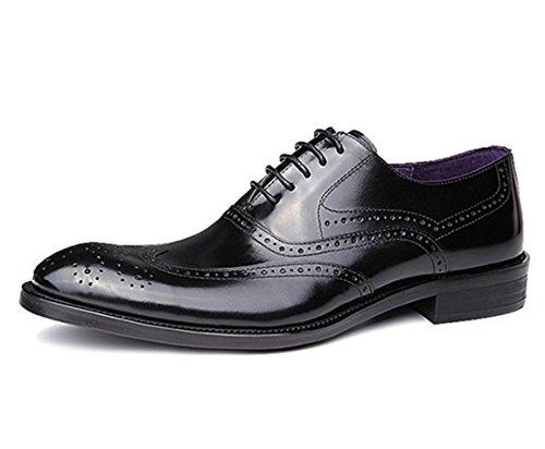 WZG Calzado hombre, zapatos de cuero británica Columbus Locke talladas a mano los zapatos de los hombres señalaron los zapatos de encaje zapatos de la boda 6 Black