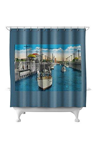 World famous Canal Locks, Ballard, Seattle (71x74 Polyester Shower Curtain) ()