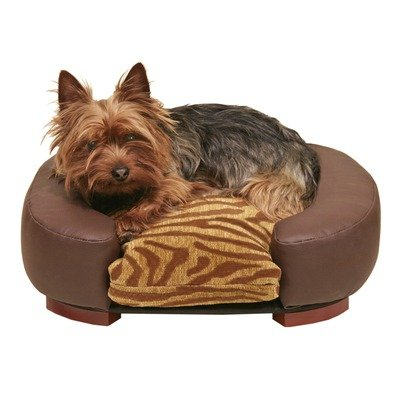 Blue Ribbon Furniture Quality Oval Pet Bed, 18-Inch by 16-Inch by 4-1/2-Inch, Zebra/Choco