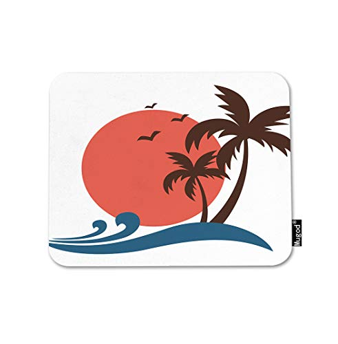 (Mugod Plam Tree Mouse Pad Vintage Tropical Sunset Ocean Wave Birds Red and Blue Gaming Mouse Mat Non-Slip Rubber Base Mousepad for Computer Laptop PC Desk Office&Home Working 9.5x7.9 Inch)