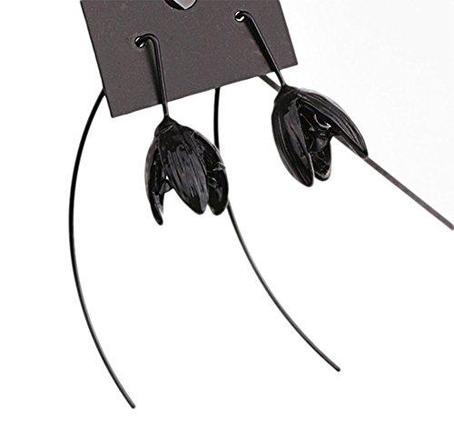 Hosaire Threader Drop Earring with Black Flower Bud Hoops Retro Unique Ear Line (Flowers Hoop Ring)
