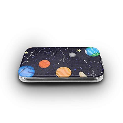 MEILVWEN Colorful Solar System with Zodiac Mini Pocket Mirror Portable Folding Cosmetic Mirror 1X & 2X Magnification ()