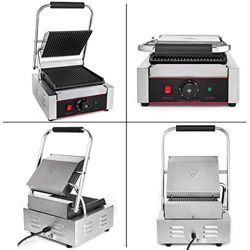 Happybuy Sandwich Press Grill 110V Panini Maker and Grill 1800W Commercial Panini Grill Durable Stainless Steel Construction with Adjustable Temperature Control Cooking Non Stick Surface Grooved Plates by Happybuy (Image #2)