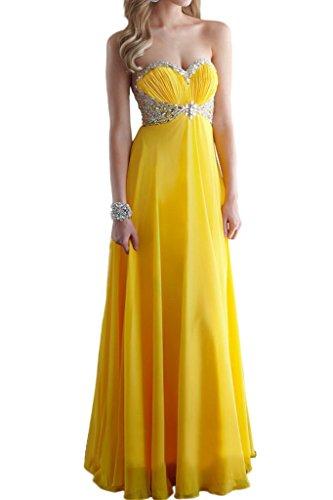 Royaldress Gelb Steine Herzausschnitt Chiffon Lang Abendkleider Brautmutterkleider Promkleider Bodenlang