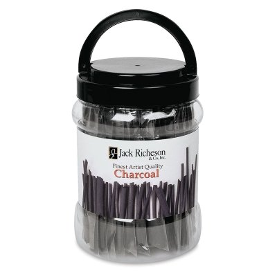 Jack Richeson Non-Toxic Medium Vine Charcoal Stick with Canister, 6 x 3/16 in, Black, Pack of 144