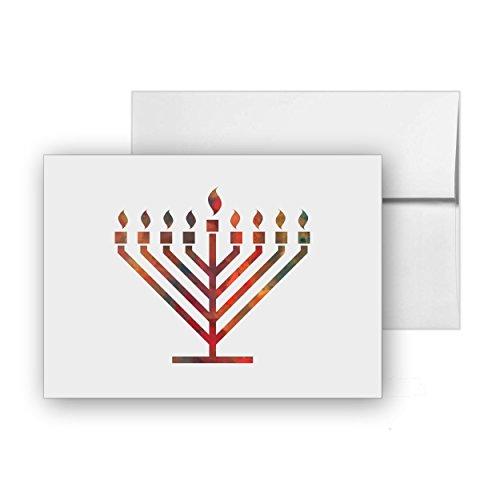 Hanukiah Candelabrum Lamp Hanukkah, Blank Card Invitation Pack, 15 cards at 4x6, with White Envelopes, Item 600642 (Hanukkah Party Invitations)