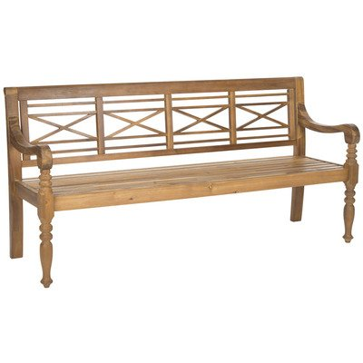 Safavieh Patio Collection Martin Adirondack Acacia Wood Bench, Natural by Safavieh