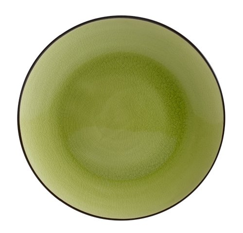 CAC China 666-16-G Japanese Style 10-Inch Golden Green Coupe Round Plate, Box of (Green Coupe Plate)