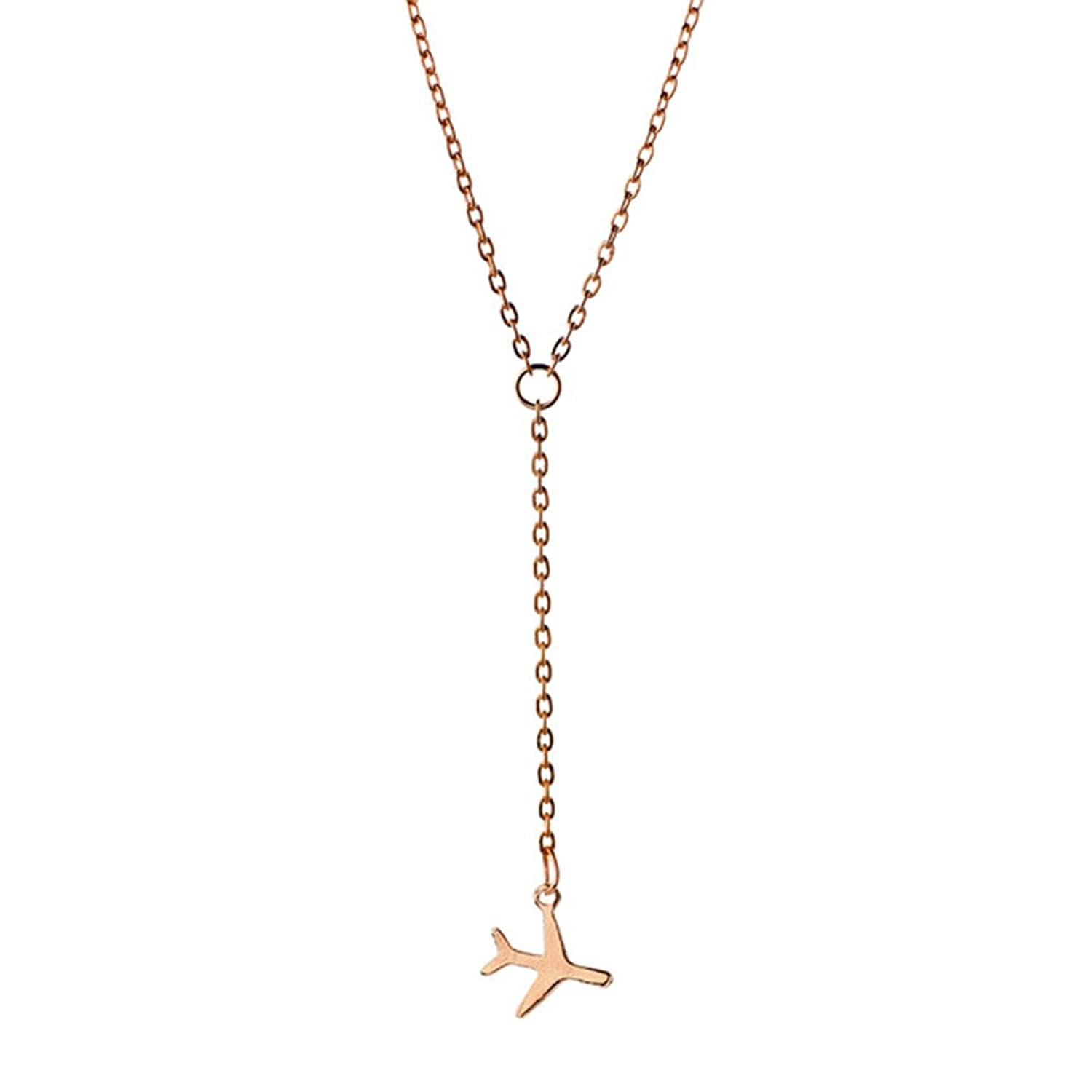 BEICHUANG Four Color Copper Tiny Airplane Cute Aircraft Necklace Perfect Gift for Travers