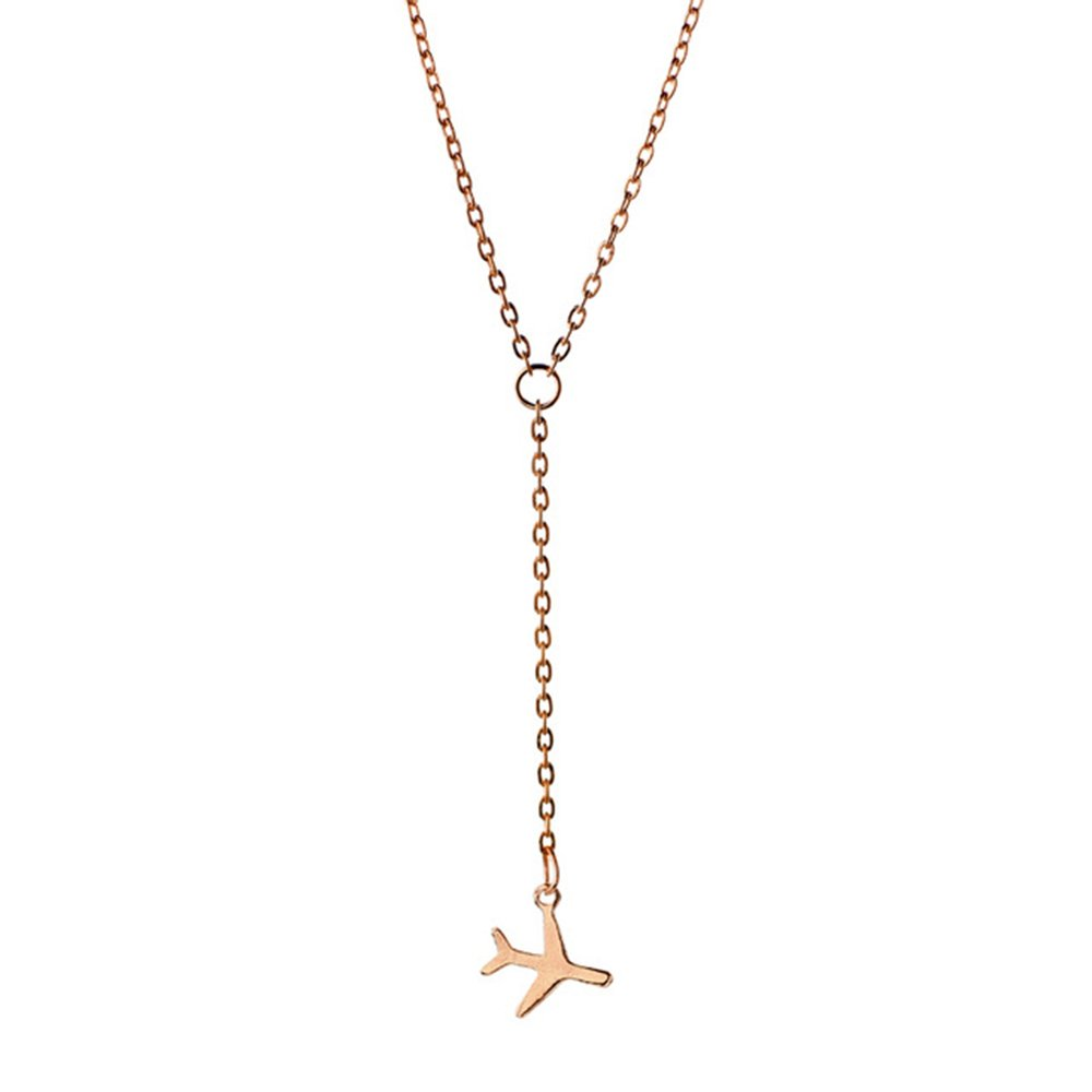 BEICHUANG Four Color Copper Tiny Airplane Cute Aircraft Necklace for Travers(rose gold)