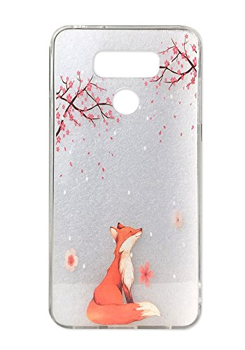LG G6 Case Cute Pink Cherry Blossoms Design for Girls with Dust Proof Plug Clear Bumper Shockproof Flexible Silicone Protective Cases Fox Floral Pattern for LG G6 (2017) (Lucky Fox Cherry) ()
