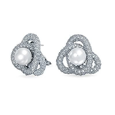 Bling Jewelry Love Knot CZ Simulated Pearl Earrings Rhodium Plated Brass on sale