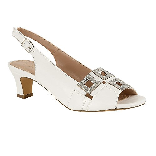 Lotus Aubrey Womens Smart Sling Back Shoes White/Silver