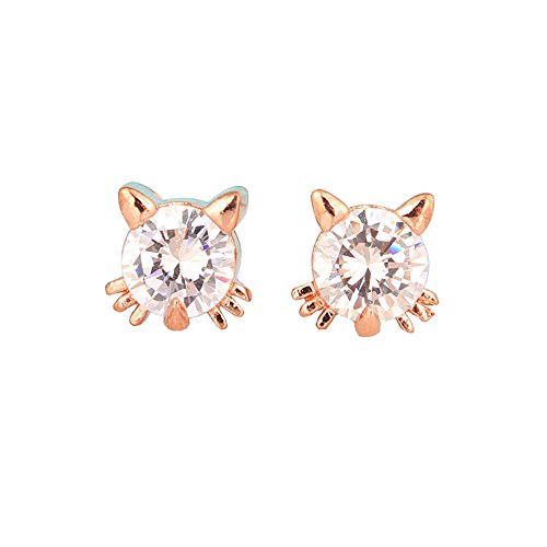 Birthday Gift 18k Gold Plated Austrian Swarovski Crystal Zircon Mini Cute Cat Stud Earrings - Cat Cute Earrings