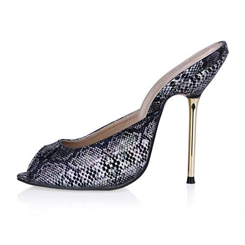 Sandali a Partito Donna Metallo Scarpe Serpiente Alto Sexy da Peep Moda Tacco nero a Toe CHAU Spillo Tacco CHMILE wnqS6It0xP