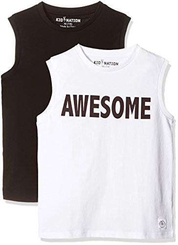 Kid Nation Kids 2-Pack Crew-Neck Tank Top Medium Solid Black + White