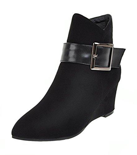 Aisun Damen Sexy Spitz Zehen Riemchen Schnalle Keilabsatz Kurzschaft Stiefel mit Reißverschluss Schwarz