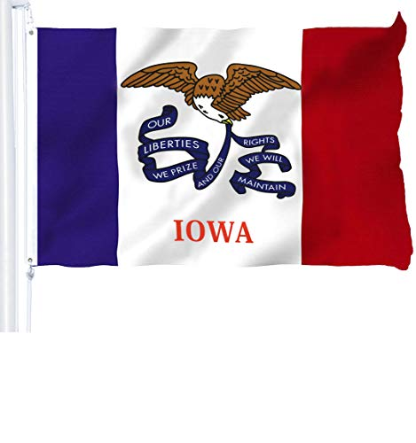 - G128 - Iowa State Flag 3x5 ft Printed Brass Grommets 150D Quality Polyester Flag Indoor/Outdoor - Much Thicker and More Durable Than 100D and 75D Polyester