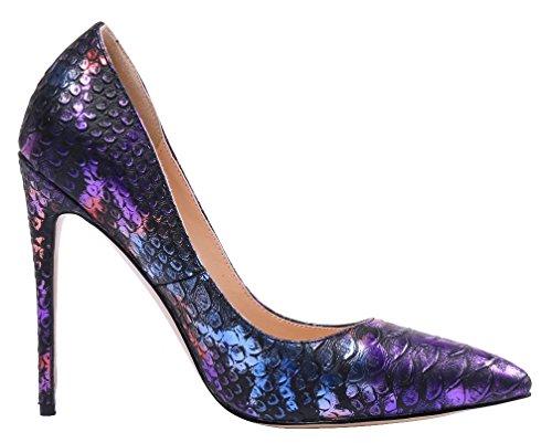 AOOAR Damen Animal-Print Stiletto Pumps Bunt D-Violett