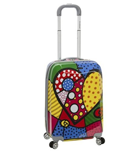 Girls Multi Color Abstract Art Theme Carry On Luggage Hardtop Hardside Roller Wheel Set, Girls All Over Heart Polka Dots Floral Themed Suitcase Rolling Upright Spinner Wheels Pink Purple Yellow Red by DH