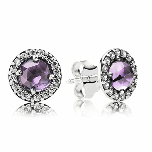 (Pando Women's Sparkling Amethyst Silver Stud Earrings,Mixed Stones,Cubic Zirconia,Amethyst)