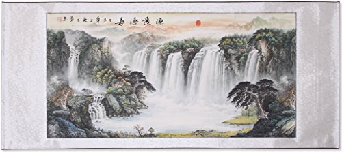 "Chinese Traditional Waterfall Landscape Scrolled Painting, Feng Shui Painting for Office Living Room Decoration Attract Wealth and Good Luck,Ready to Hang (67""x 29"")"