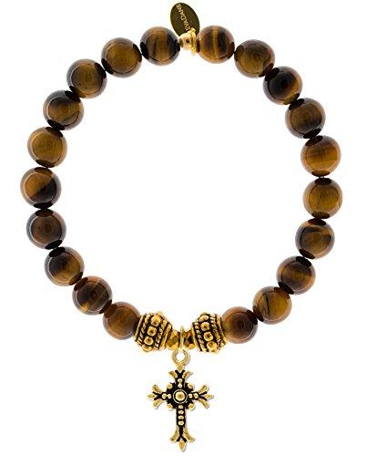 EvaDane 1_TE_G_R_CRO_7 Natural Semi Precious Tiger Eye Gemstone Rope Bead Cross Charm Stretch Bracelet