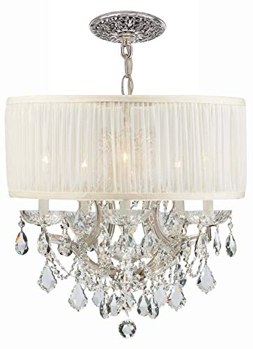 - Crystorama 4415-CH-SAW-CLS Crystal Accents Five Light Mini Chandeliers from Brentwood collection in Chrome, Pol. Nckl.finish,
