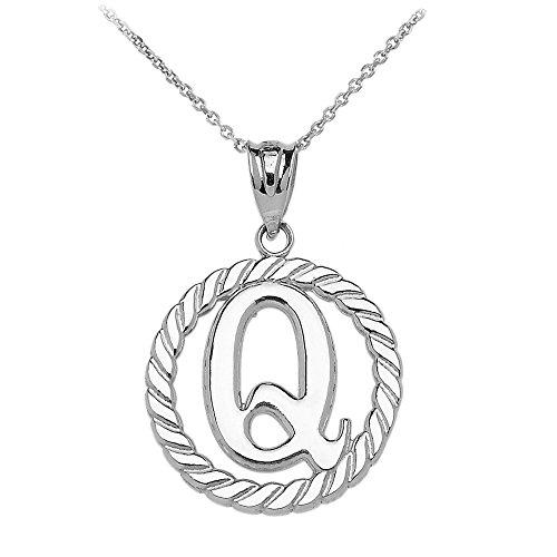 """Collier Femme Pendentif 14 Ct Or Blanc """"Q"""" Initiale À Corde Cercle (Livré avec une 45cm Chaîne)"""