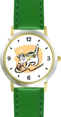 Kitten Playing with Ball of Yarn Cat - WATCHBUDDY DELUXE TWO-TONE THEME WATCH - Arabic Numbers - Green Leather Strap-Children's Size-Small ( Boy's Size & Girl's Size )