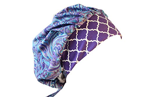 Womens Surgical Scrub Hat - Scrub Hat Chemo Cap Bouffant Style MANY Color Options Available (purple blue paisley)