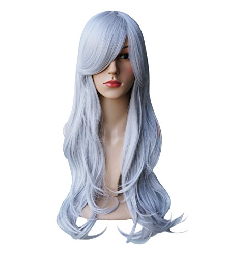 [AnotherMe Ultra Soft Long Big Wavy Ash Silver White Wig Women Heat Resistant Fiber Party Cosplay Wig 27.5] (World Of Warcraft Night Elf Costumes)