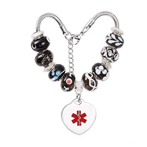 Medical Id Onyx Bracelet - linnalove Beads Charms Medical Alert id Bracelet for Women & Girl-Free Engraving(Onyx)