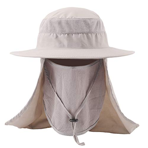 FAMY Fishing hat, Sun Hat, with Removable Neck Face Flap, Fishing Hat UPF 50+ UV Sun Protection Bucket Cap, Mesh Boonie Hat for Outdoor Sports & Travel