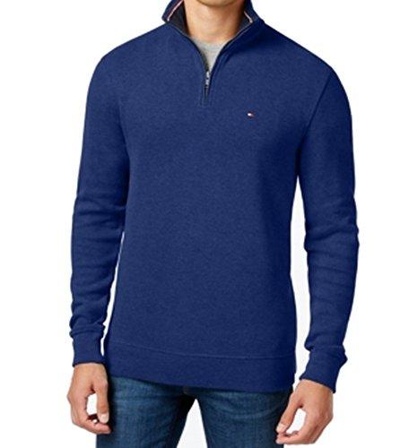 Tommy Hilfiger Men's French Rib Quarter-Zip, 3XL, Mazarine - Men's Quarter French Clothing