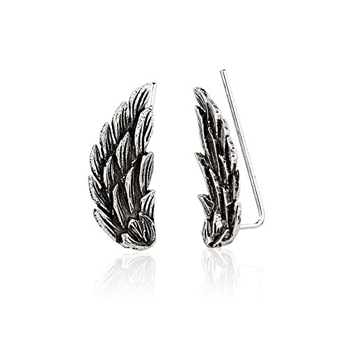 925 Sterling Silver Open Spread Angel Wings No Pierce Ear Pin Climber Vine Earrings, Set of Two (2) (No Pierce Ear Cuff)