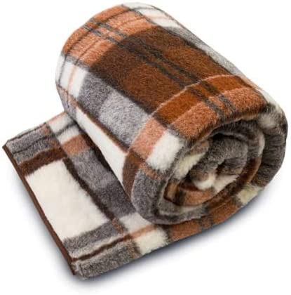 PERFECT FOR GIFT NATURAL MERINO WOOL NATURAL BLANKET THROW Plaid Blanket Sofa Bed Double size BLANKET 160 x 200 cm NEW WOOLMARKED BROWN CHECK BLANKET SALE NATURAL BLANKET