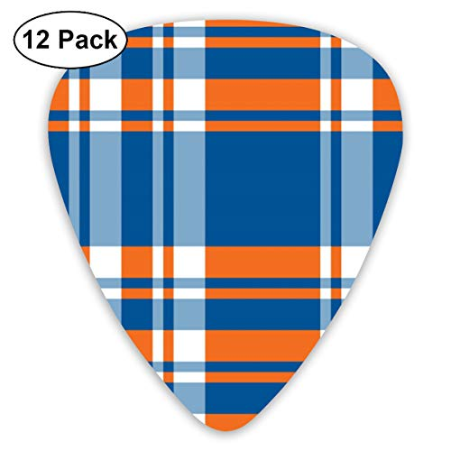 Blue And Orange Madras Plaid Bendy Ultra Thin 0.46 Med 0.73 Thick 0.96mm 4 Pieces Each Base Prime Plastic Jazz Mandolin Bass Ukelele Guitar Pick Plectrum Display ()