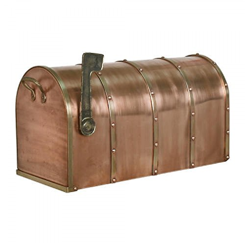 (SH Naiture Riveted Post Mount Standard Copper Mailbox with Brass)