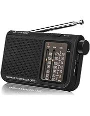 Retekess V117 Radio portátil Radio de Bolsillo Am/FM/SW 3 Bandas con Perilla de Ajuste de Tipo Cilíndrico (Negro)