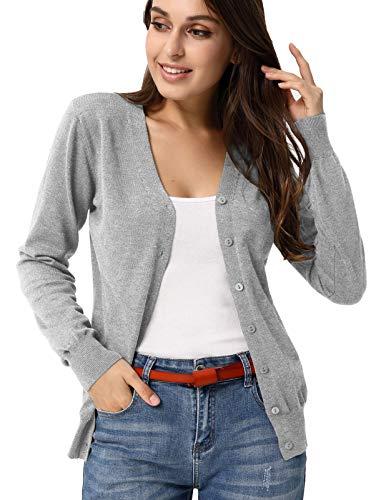 Women's Open Front Knit Long Sleeve Sweater Cardigan(M,Light Grey)